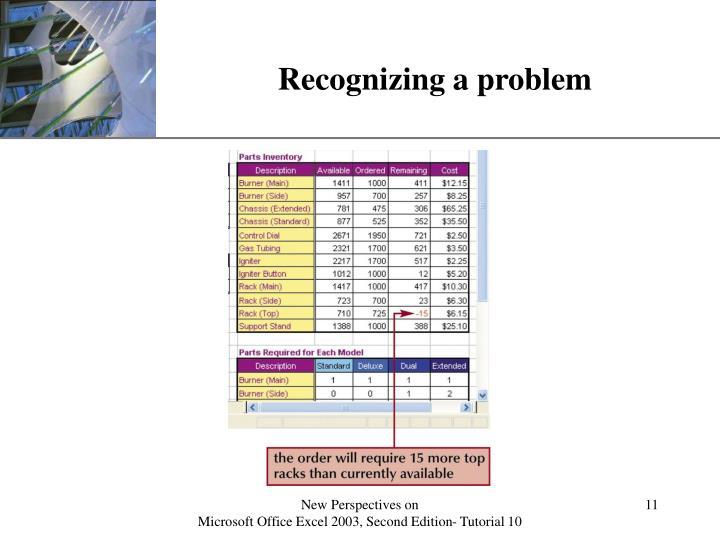 Recognizing a problem