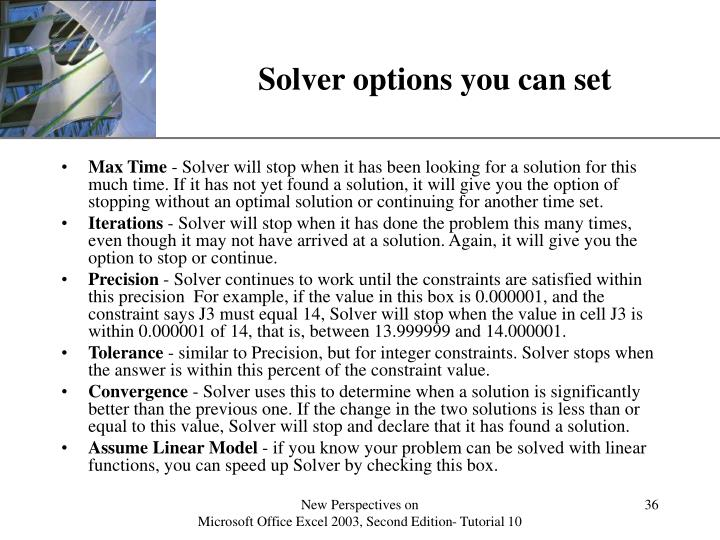 Solver options you can set