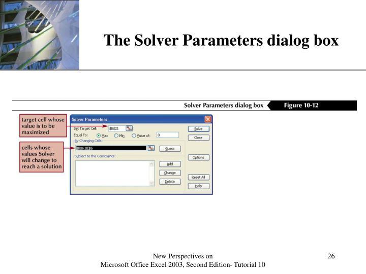 The Solver Parameters dialog box