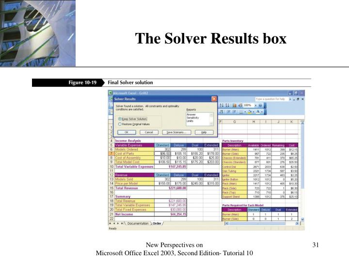 The Solver Results box
