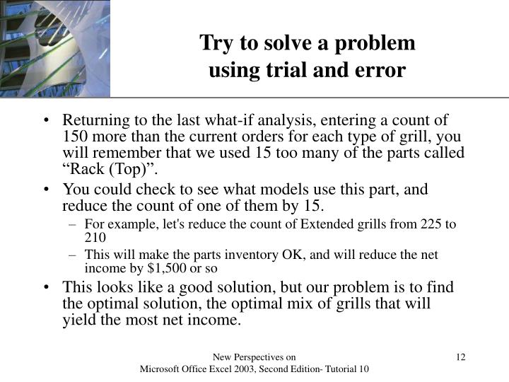 Try to solve a problem