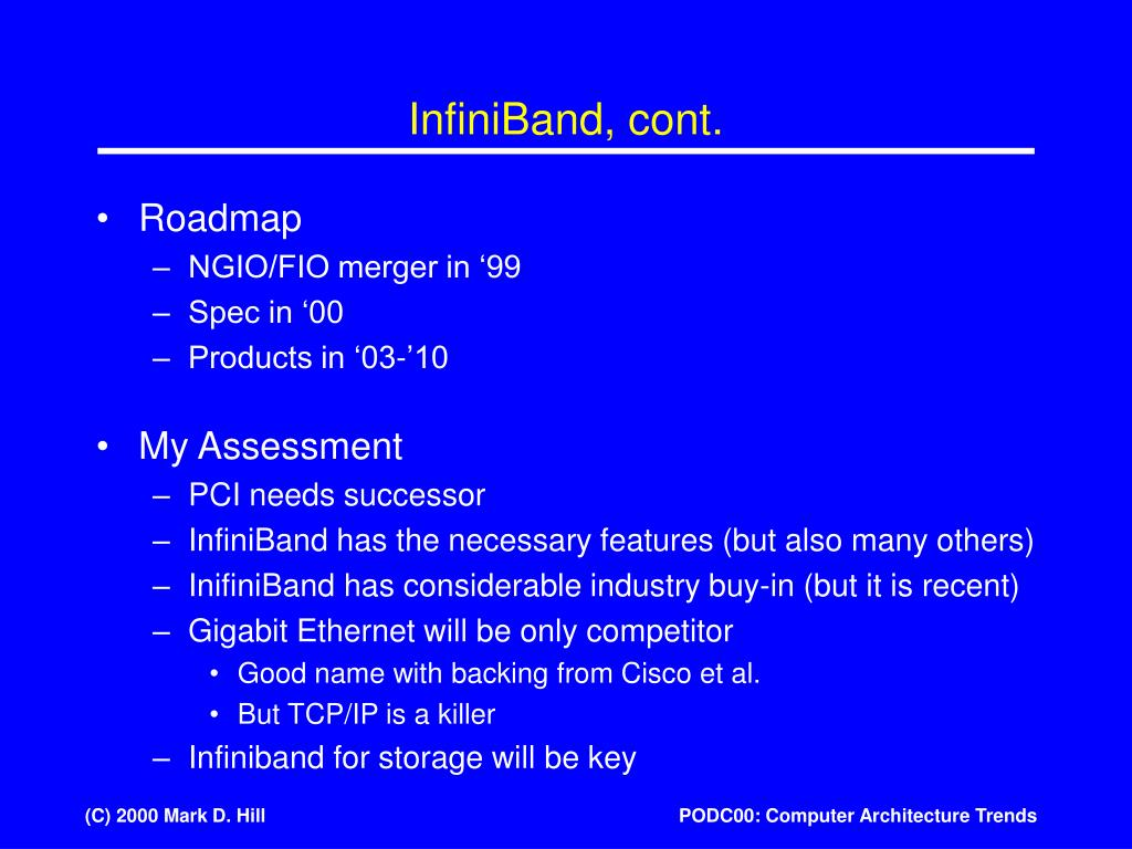 InfiniBand, cont.