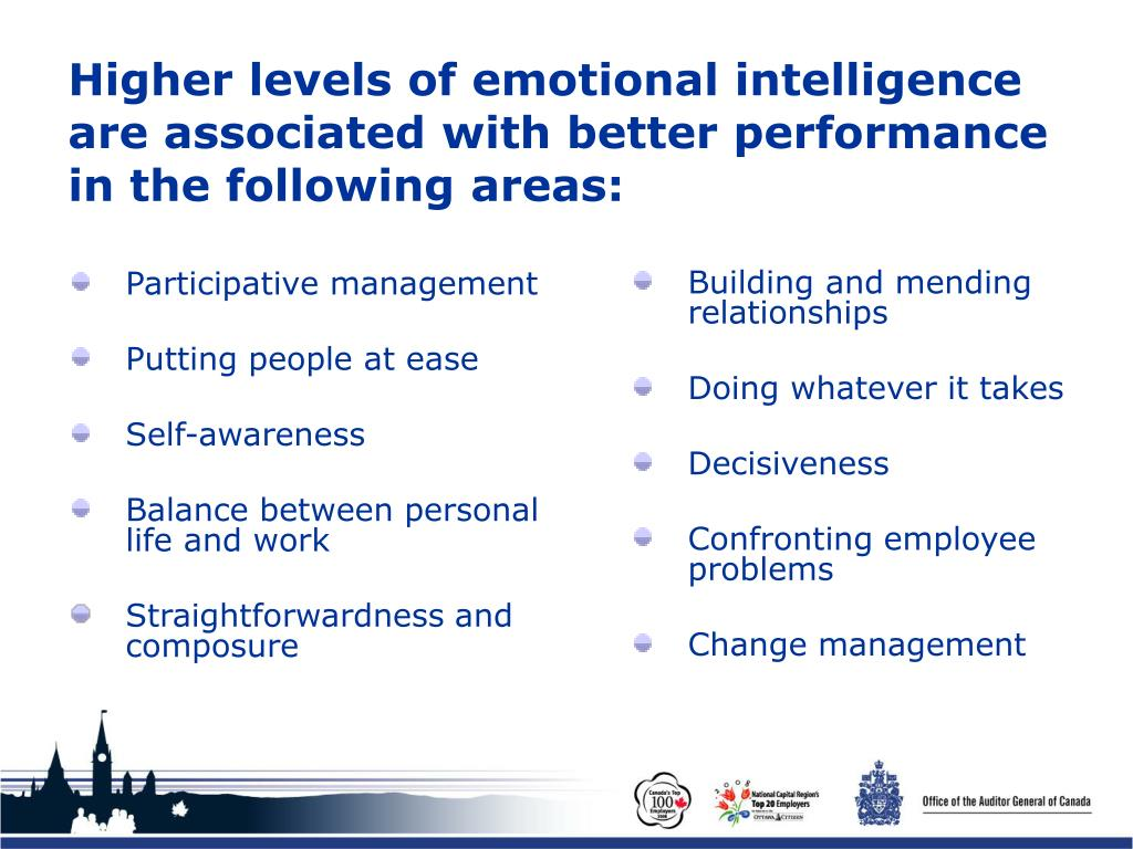 Higher levels of emotional intelligence are associated with better performance in the following areas: