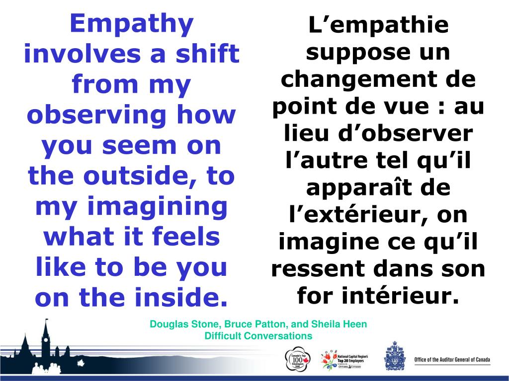 Empathy involves a shift from my observing how you seem on the outside, to my imagining what it feels like to be you on the inside.