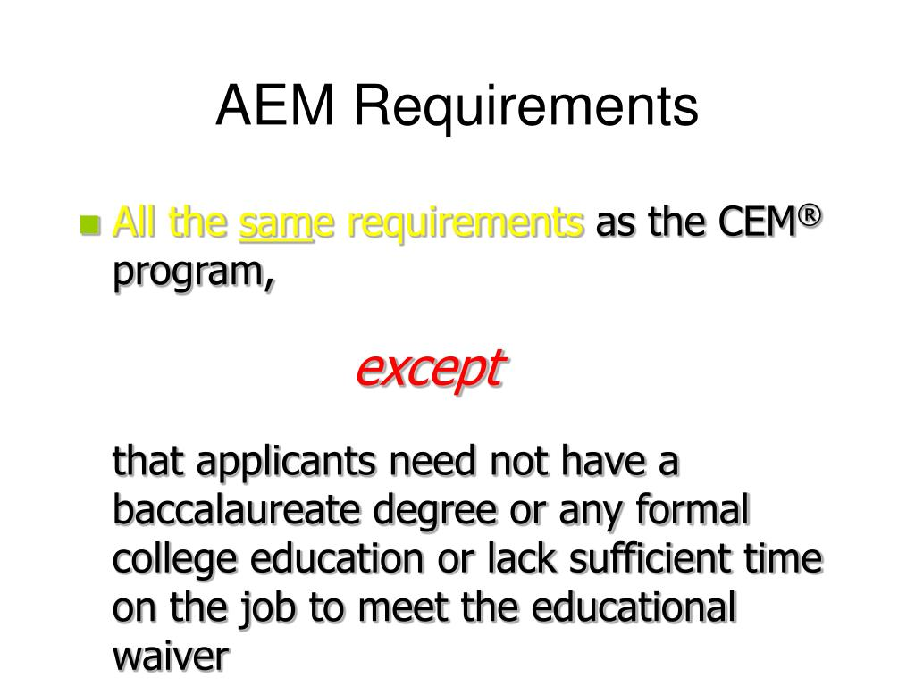 AEM Requirements