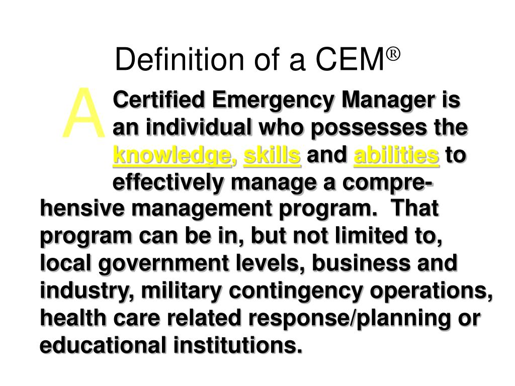 Definition of a CEM