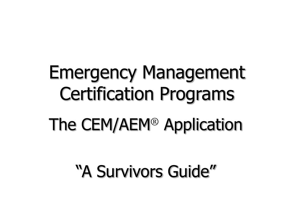 Emergency Management Certification Programs