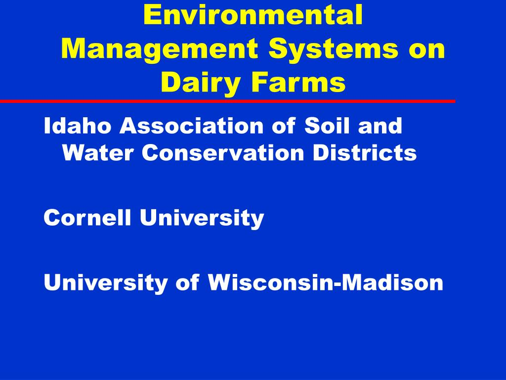 environmental management systems on dairy farms l.