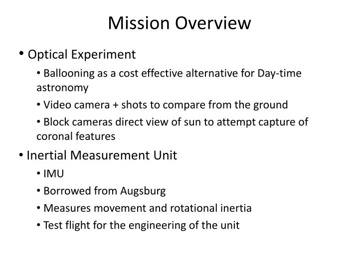 Mission overview3
