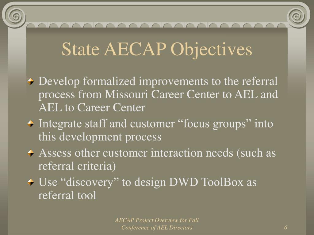 State AECAP Objectives