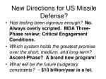 new directions for us missile defense
