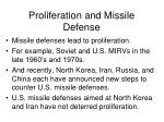 proliferation and missile defense