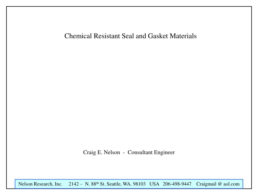 chemical resistant seal and gasket materials l.