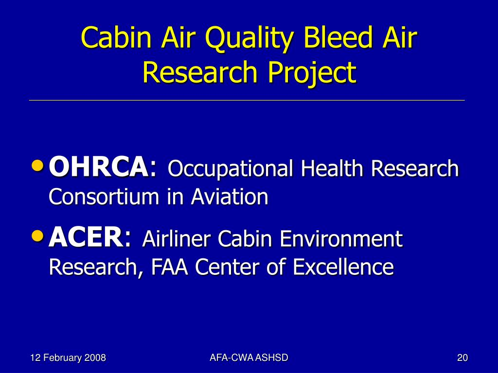 Cabin Air Quality Bleed Air