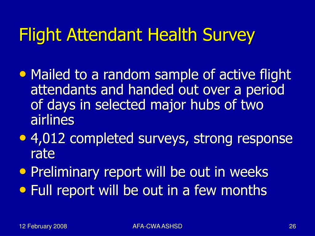 Flight Attendant Health Survey