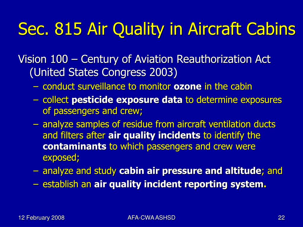 Sec. 815 Air Quality in Aircraft Cabins
