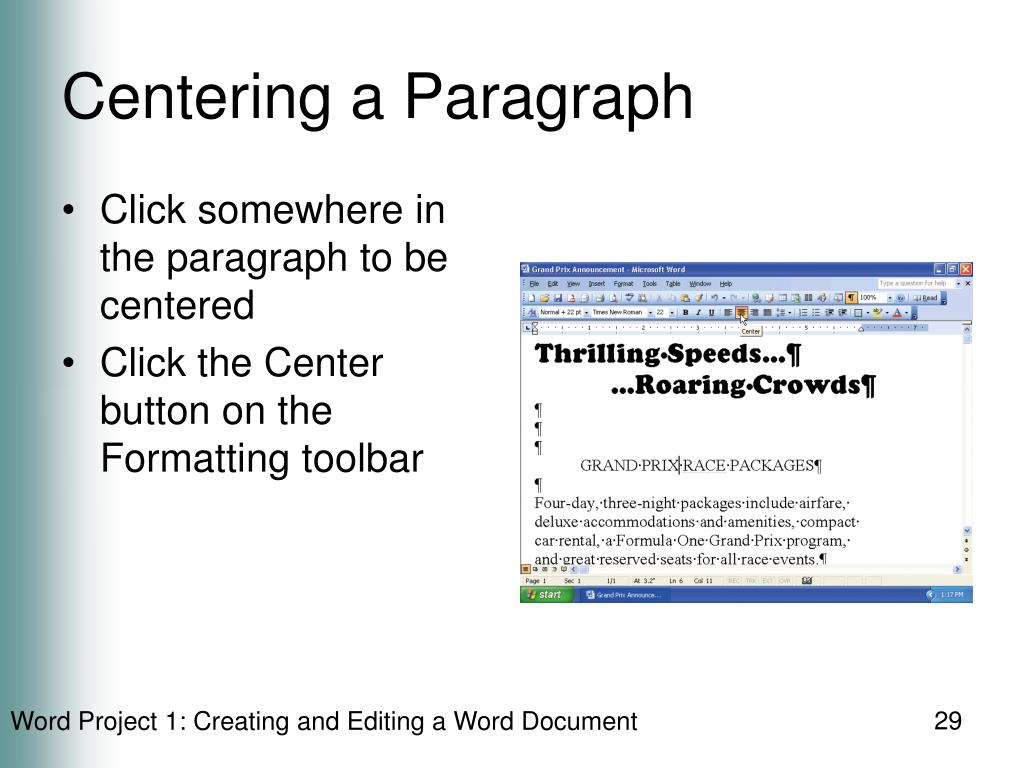 Centering a Paragraph