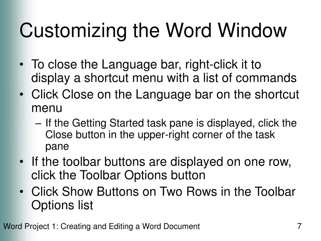 Customizing the Word Window