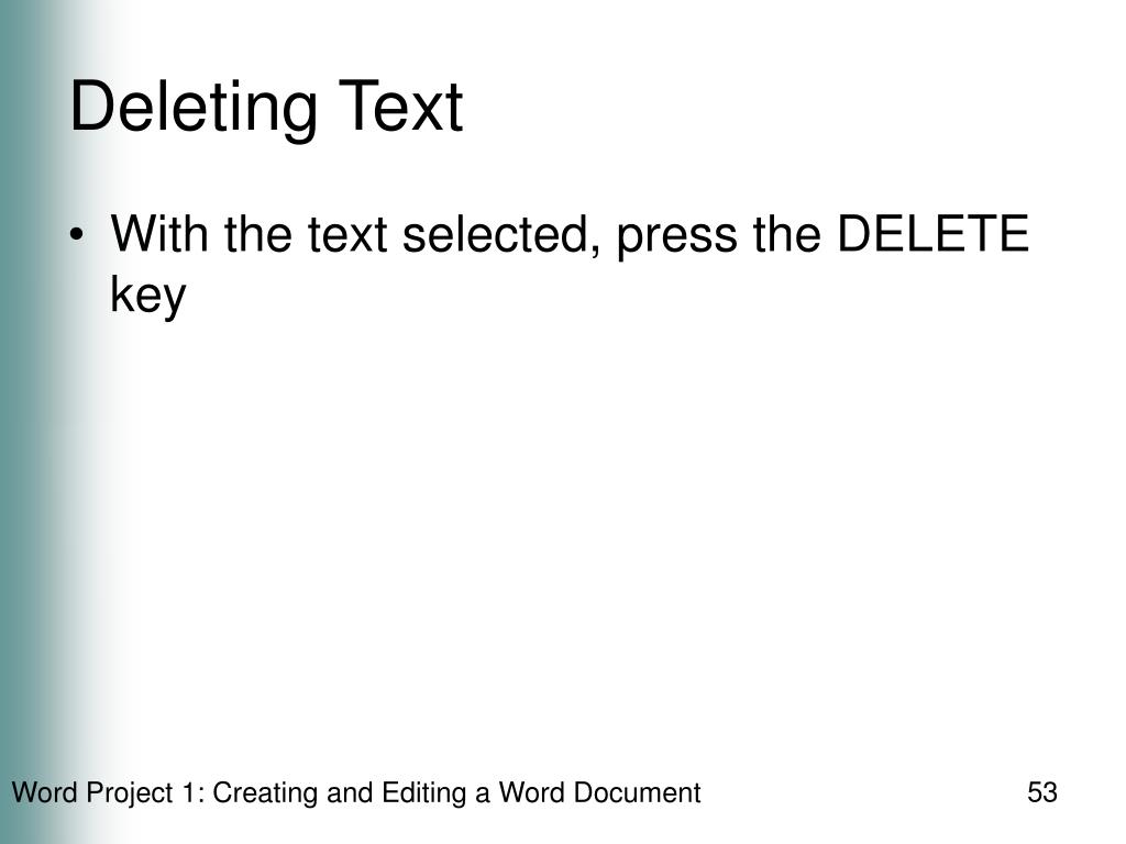 Deleting Text