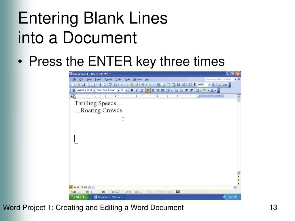 Entering Blank Lines