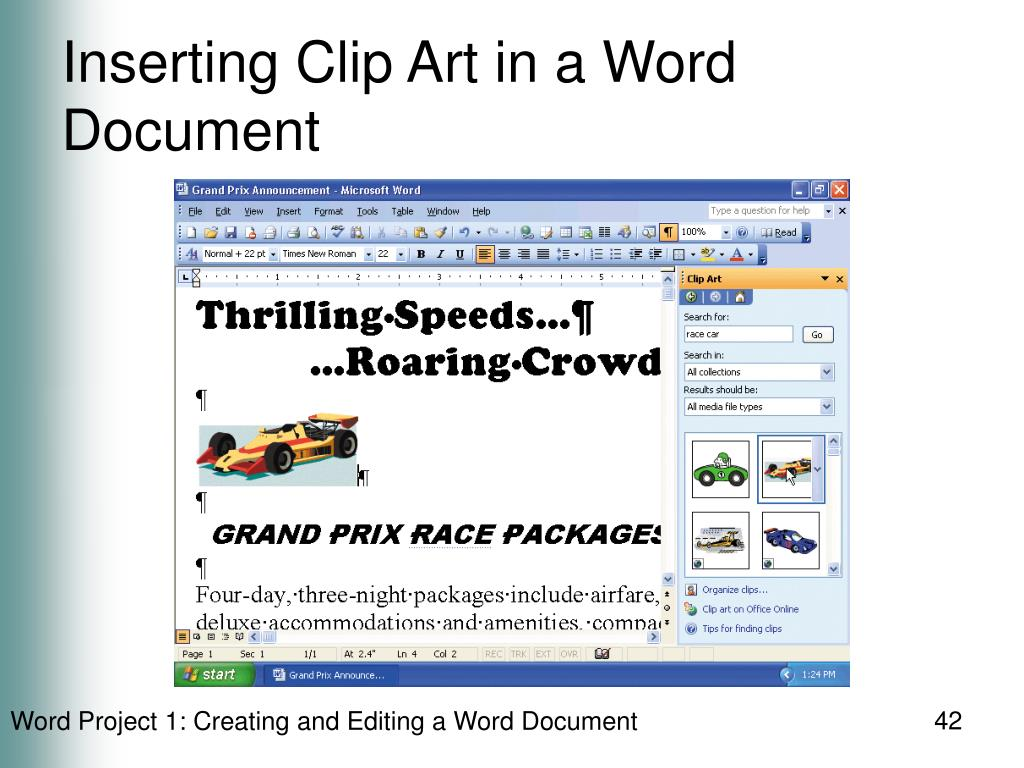 Inserting Clip Art in a Word Document