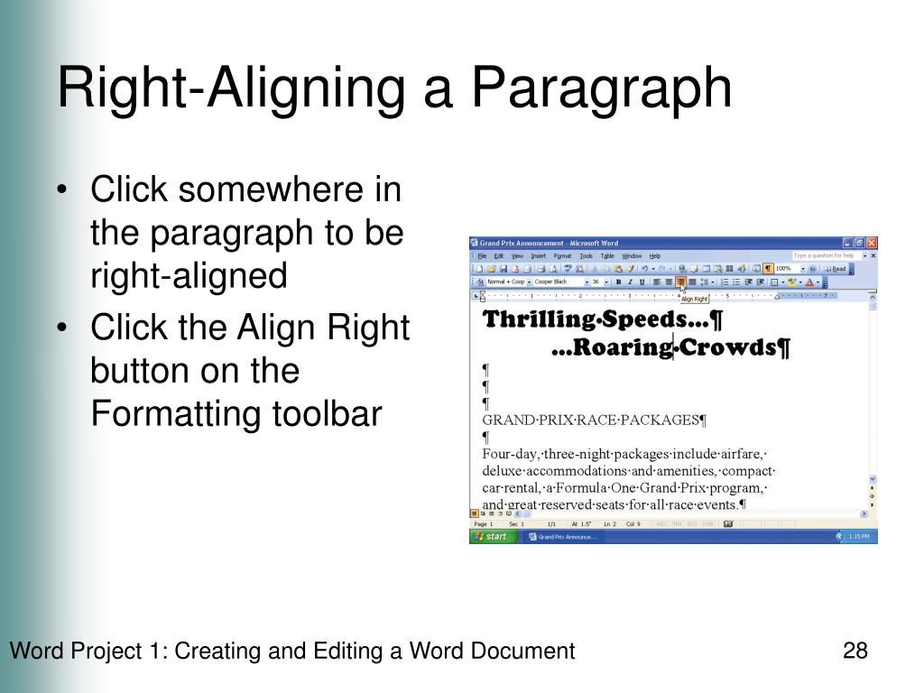 Right-Aligning a Paragraph