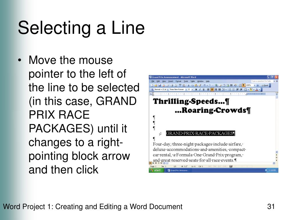 Selecting a Line