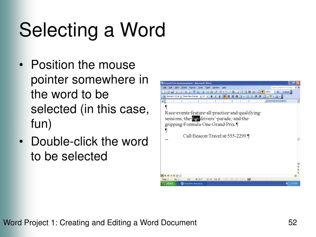 Selecting a Word