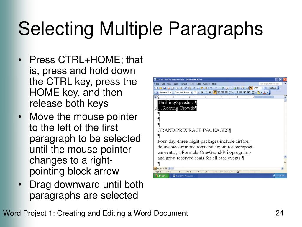 Selecting Multiple Paragraphs