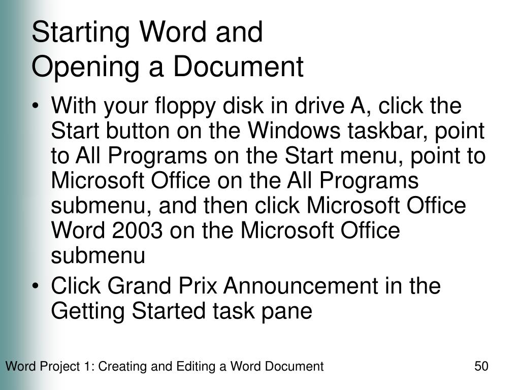 Starting Word and