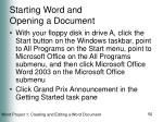 starting word and opening a document