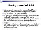 background of afa