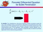 poncelet differential equation for bullet penetration