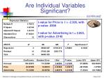 are individual variables significant27