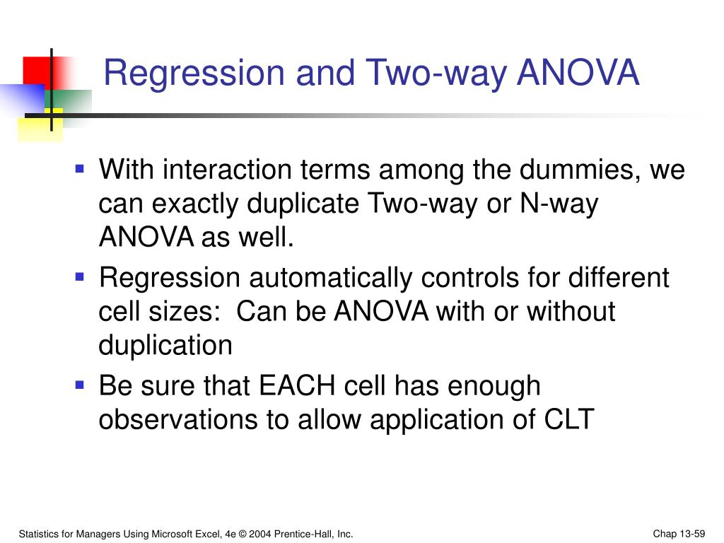 Regression and Two-way ANOVA
