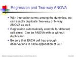 regression and two way anova