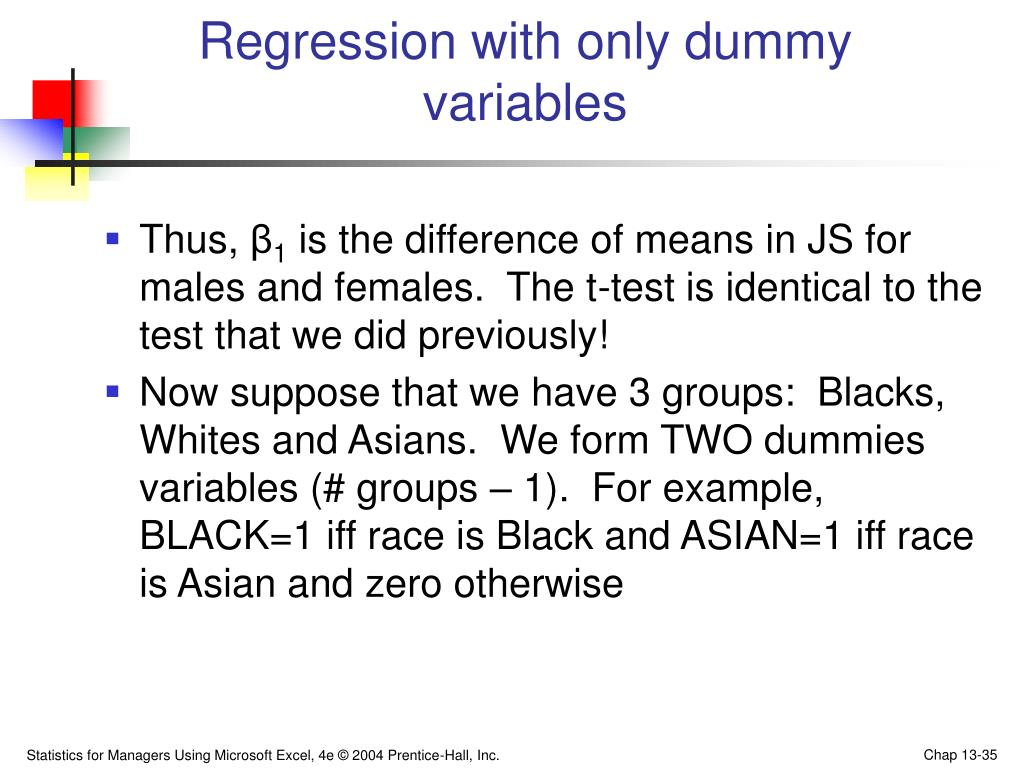 Regression with only dummy variables