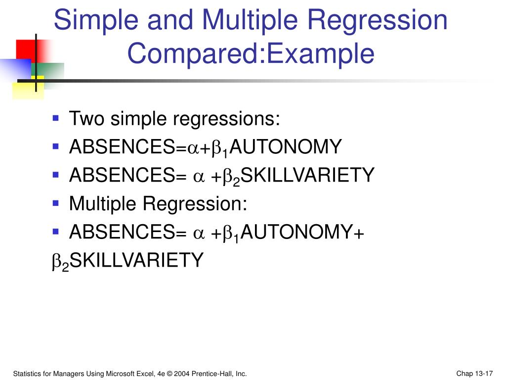 Simple and Multiple Regression Compared:Example