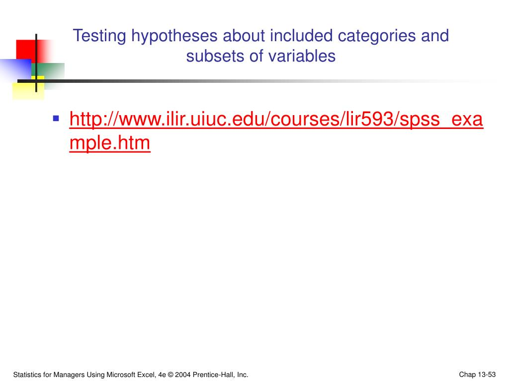 Testing hypotheses about included categories and subsets of variables