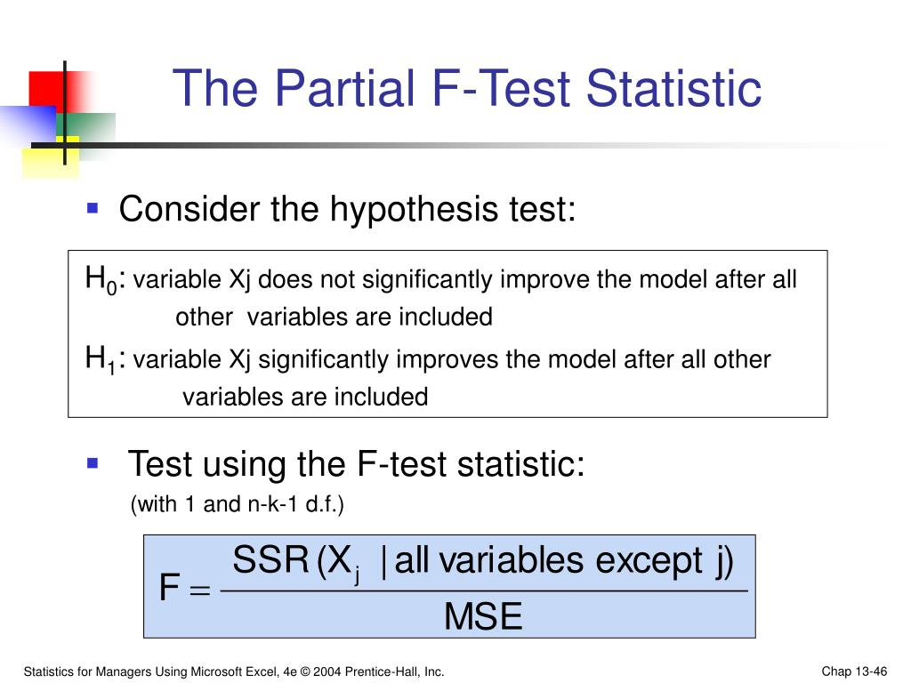 The Partial F-Test Statistic