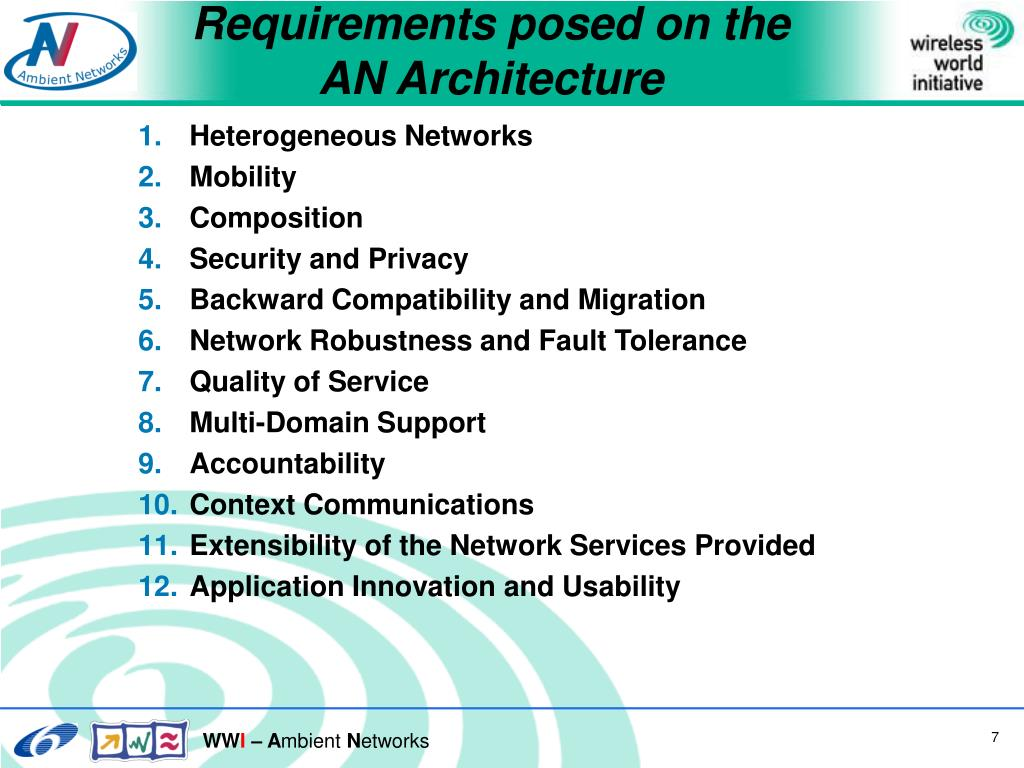 Requirements posed on the