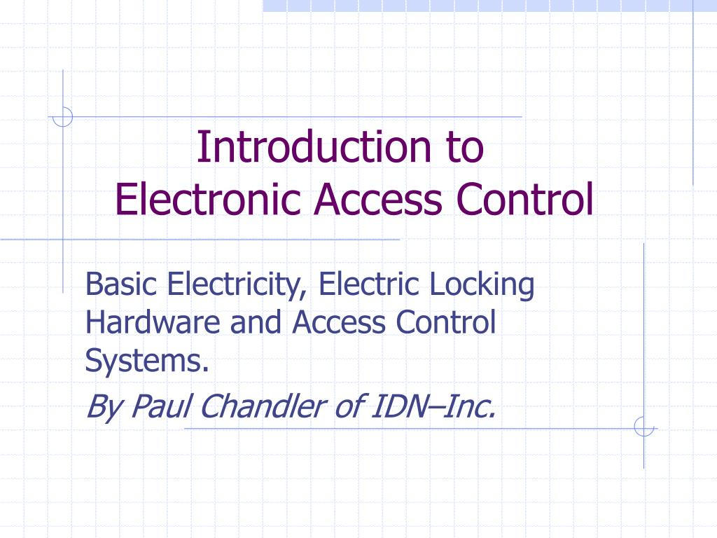 introduction to electronic access control l.