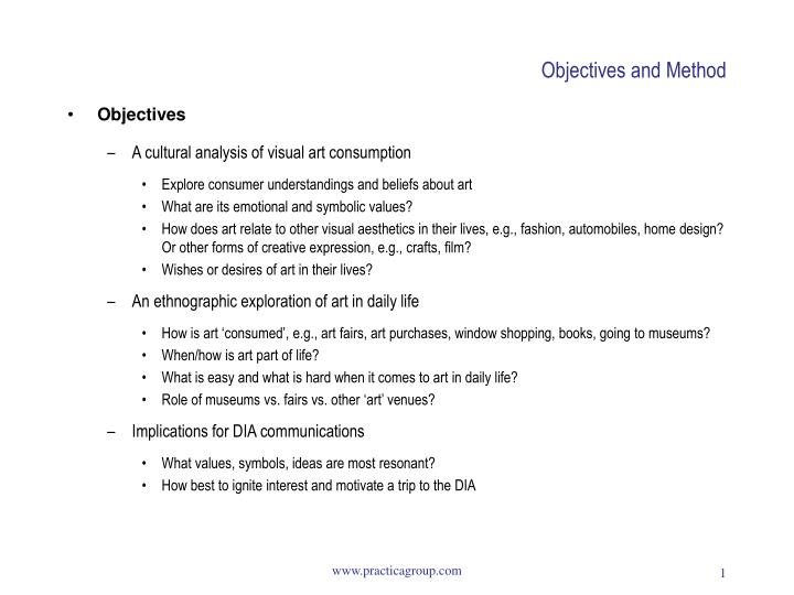 Objectives and method