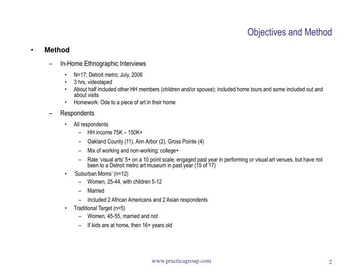Objectives and method3