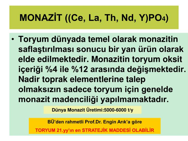 MONAZİT ((Ce, La, Th, Nd, Y)PO
