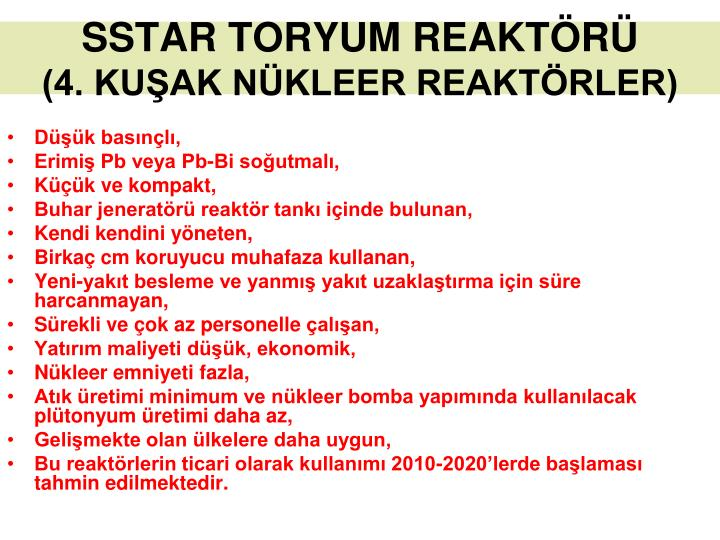 SSTAR TORYUM REAKTÖRÜ