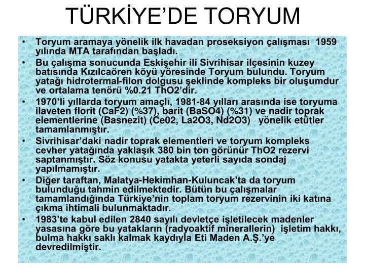 TÜRKİYE'DE TORYUM