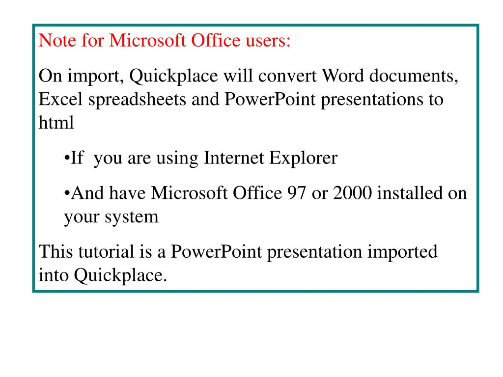 Note for Microsoft Office users: