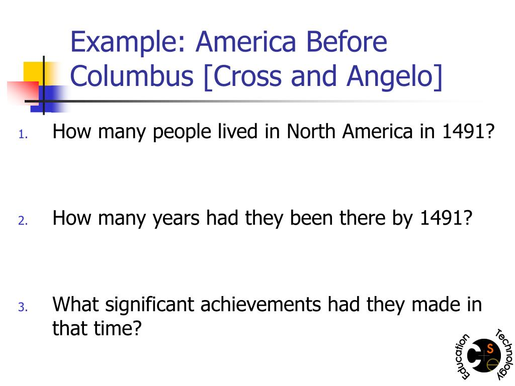 Example: America Before Columbus [Cross and Angelo]
