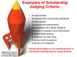 examples of scholarship judging criteria